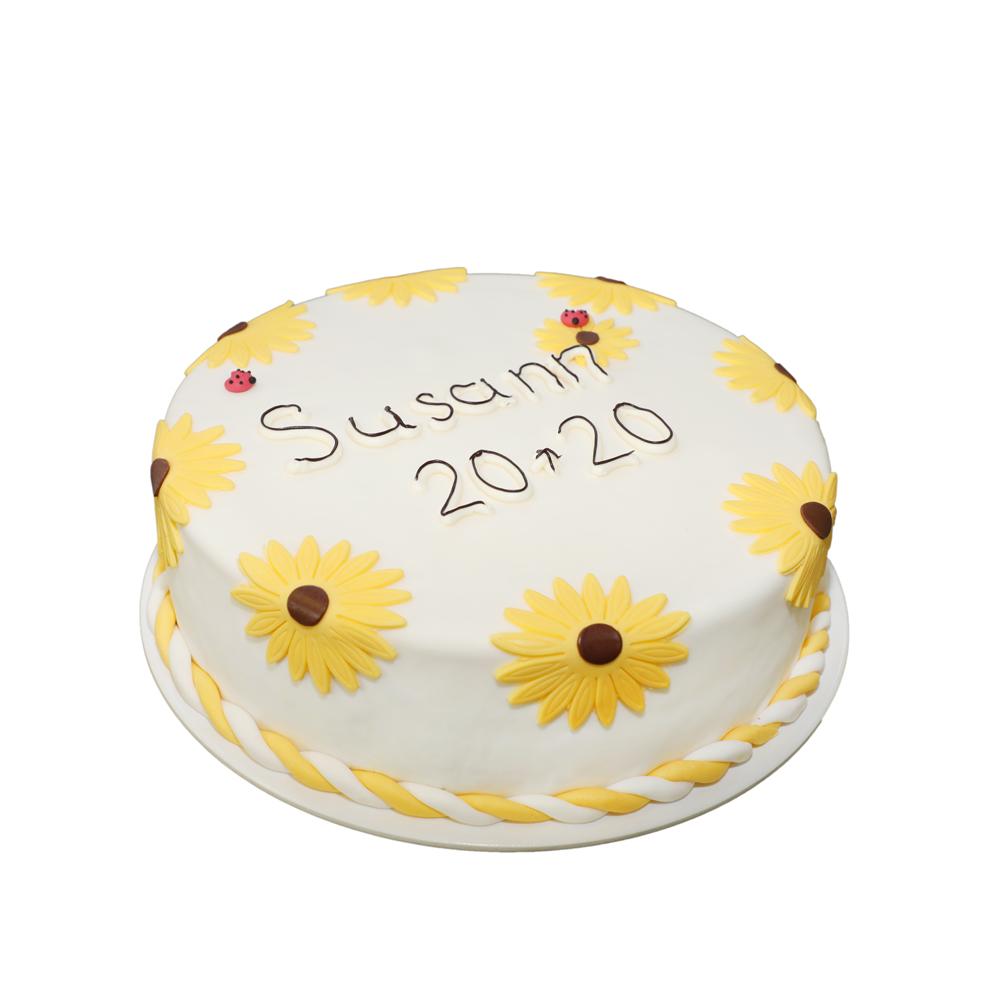 Geburtstagstorte Sonnenblume mit Frucht-Joghurtfüllung